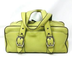 COLE HAAN lime green leather purse